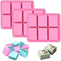 Silicone Soap Molds Set of 3, 6 Cavities DIY Handmade Soap Moulds - Cake Pan Molds for Baking, Biscuit Chocolate Mold…