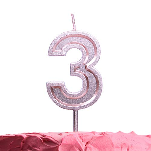 Get Fresh Number 3 Birthday Candle - Rose Gold Number Three Candle on Stick - Elegant Pink Number Candles for Birthday Wedding Anniversary - Perfect Baby's 3rd Birthday Cake Candle - Pink 3 Candle