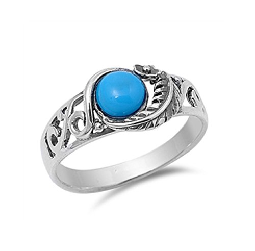 ligree Leaf Design Simulated Turquoise Ring Sterling Silver 925 Size 9 ()