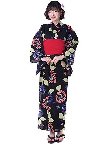 KYOETSU Women's Cute Yukata 2 Piece Set (Yukata/Obi) (Medium (Japan Size BL), FM-8(Obi Red)) by KYOETSU