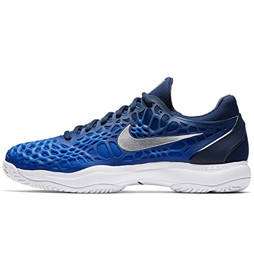NIKE Herren Air Zoom Cage 3 HC Tennisschuh Midnight Navy / Metallic Silber