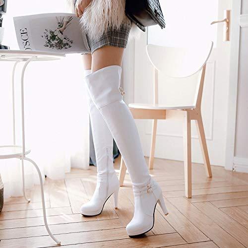 Boucle Cuissardes forme Zpfme Genou Chaussures Plate Femme dessus Bottes Du Blanc Au À wnaqOTPFax