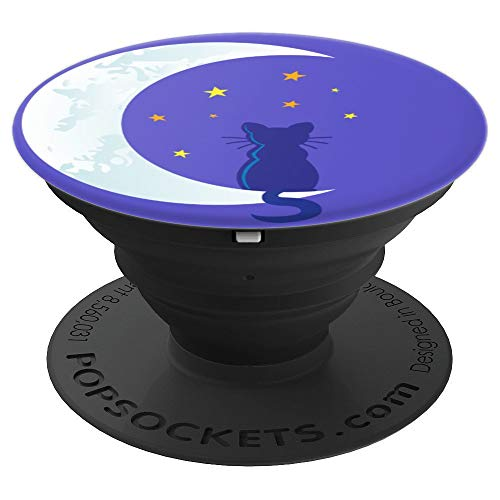 Halloween Crescent Moon Stars Black Cat Spooky Night Purple - PopSockets Grip and Stand for Phones and Tablets