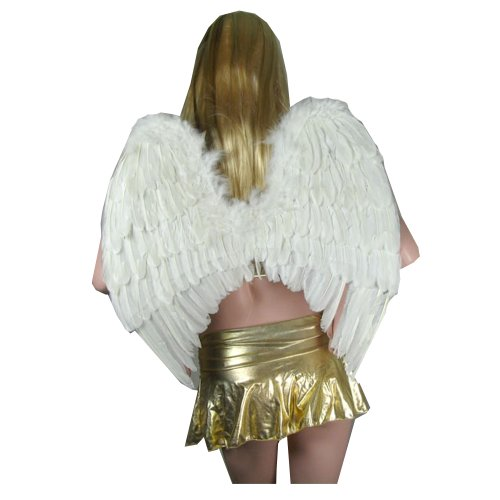 [SACASUSA (TM) Large Feather Costume Fairy Angel Wings in White] (Angel Wings For Halloween Costumes)