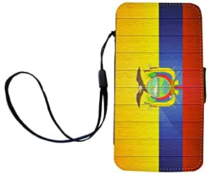 Rikki KnightTM Ecuador Flag on Distressed Wood PU Leather Wallet Type Flip Case with Magnetic Flap and Wristlet for Apple iPhone 4 & 4s