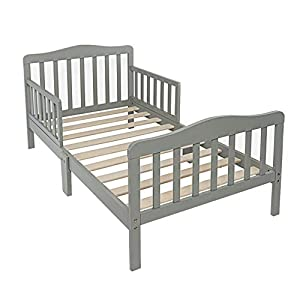 Wooden Baby Toddler Bed with Safety Guardrails, Gray - Sturdy Wooden Frame Extra Safety for Kids Children, Children Sleeping Bedroom Furniture