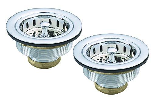 (Westbrass D2145-26 Kitchen Basket Strainer, 2-Pack, Polished Chrome)