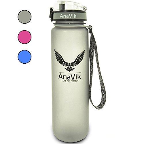 AnaVik Sports Water Bottle - 32 oz BPA Free Gym Workout Fitness Running Hiking Drinking Plastic Sport Best Large Cool Bottle Women Men - Gray