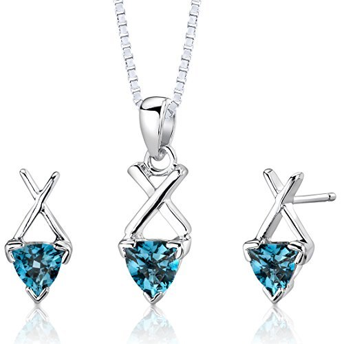 London Blue Topaz Pendant Earrings Necklace Set Sterling Silver Trillion Cut 2.00 Carats by Peora