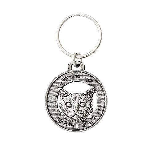 Shorthair Cat Pewter Key Chain, Key Fob, Key Ring, Gift, C007KC
