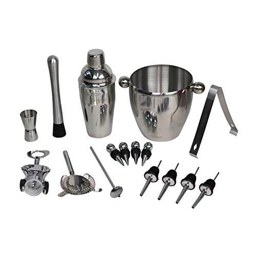 ARTIGEE 16 Piece Cocktail Wine Set | Stainless Steel Ultimate Bartender Kit with 25 Ounce Shaker, Ice Bucket & Accessories Review