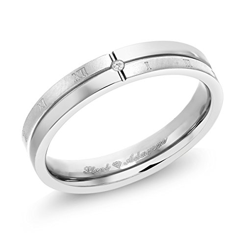 Gem Stone King White Diamond Accent Stainless Steel Roman Numeral Wedding Band ()