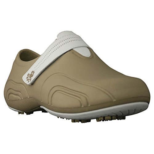 DAWGS Women's Ultralite Golf Walking Shoe,Tan/White,7 M (Tan Womens Golf Shoe)