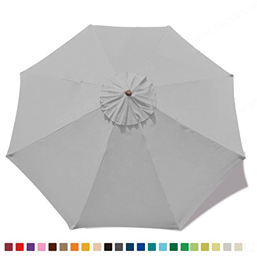(30+colors)MasterCanopy 9ft Market Round Umbrella Replacement Canopy 8 Ribs(Canopy Only) (Grey)