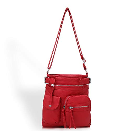 Soft Leather Crossbody Purse and Handbags Wallet Cute Small Crossover Bags with Pockets for Girl or Women Red