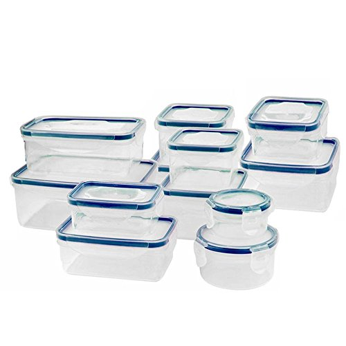 Liquid Storage (Home Clad Plastic Meal Prep SnapLock Food Storage Containers - Blue Color- Airtight Snap Lid -24 Piece Set- Freezer, Microwave, Dishwasher Safe,BPA Free, Portion Control Containers for Home & Work)