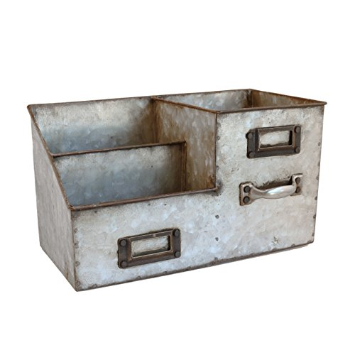 Industrial Stainless Steel Desk Organizer 3 Bin (Rustic Metal Decor)
