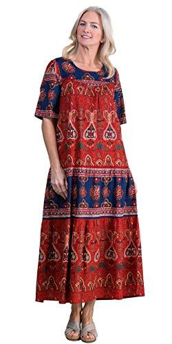 (La Cera Long Cotton Short Sleeve Muumuu Dress in Garden Spice (Red/Navy/Brown,)