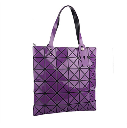 Geometric Shape Shoulder Bag Package Bucket Folding Variety Fashionable Casual Bag Purple
