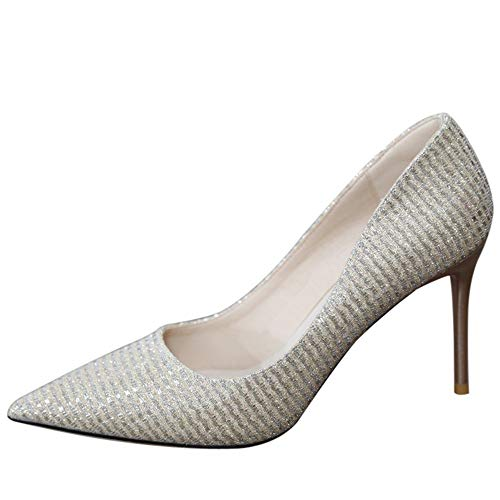 YMFIE Las Mujeres de Primavera y otoño de Europa de Moda Zapatos de tacón de Aguja con Punta Plana Sexy Temperamento Tacones Altos Zapatos de Banquete, 39 UE 37 EU