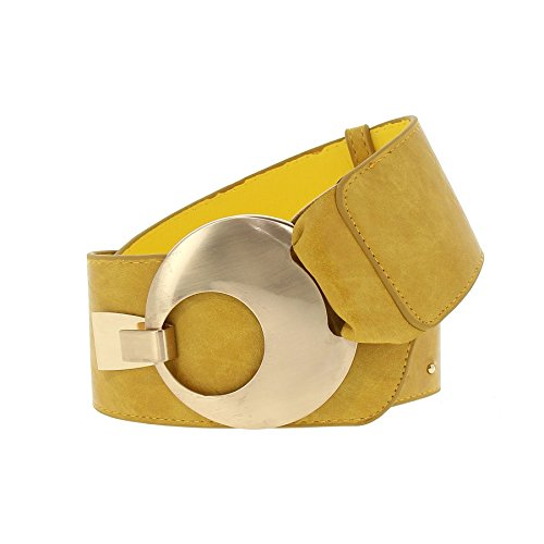 Vanessa Light - FASHIONGEN - VANESSA leatherette large belt - Light Camel, XL to XXL / 35.40 to 45.30 in