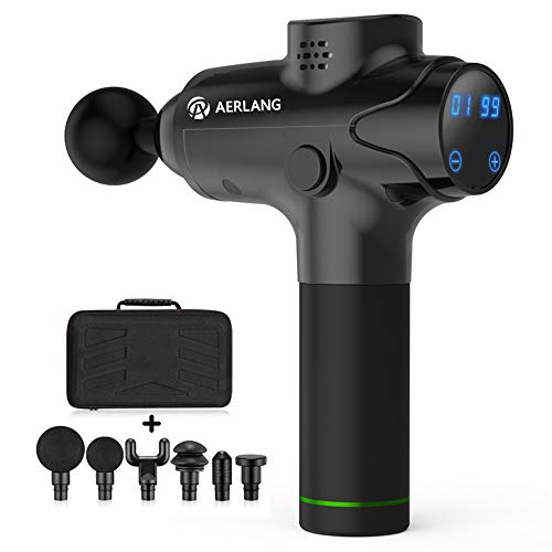 Great Variable Speed Massager AERLANG Handheld Percussion Massage Gun, Deep Tissue Noiseless Massager for Sore Muscle and Stiffness,20 Variable Speeds Digital Display- Includes 6 Massage Heads (Black) 2019