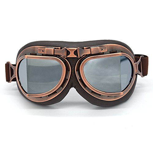 Silver Motorcycle Half Helmet - Evomosa Vintage Goggles Aviator Pilot Style Motorcycle Cruiser Scooter Goggle Bike Racer Cruiser Touring Half Helmet Goggles (Copper, Silver)
