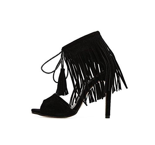 Noires Su Khskx Frange 8 Talons 5cm Elle Sandales D'une Thirty Des Hauts Chaussures eight Avec Bien Est Rome Fqt8Aq