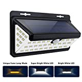 70 LED Solar Motion Sensor Light Outdoor, edola LED Solar Lights Outdoor with Wide Angle Illumination Waterproof Solar Lights fit Driveway Garden Step Stair Fence Deck with LED Flame Light-1 Pack