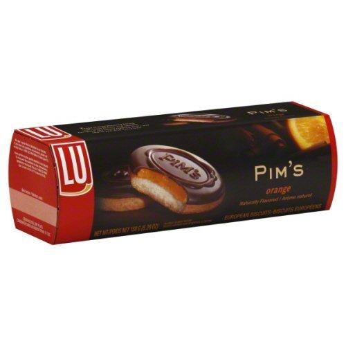 Lu European Pim's Orange Biscuits, 5.29 Oz ( Pack of 4) (Chocolate Orange Cookies)
