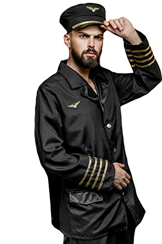 Airplane Themed Costumes (Adult Men Airline Pilot Costume Airplane Captain Suit Cosplay Dress Up Role Play (Medium/Large, Black, Gold))