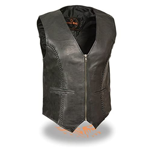 New Ladies Leather Braided Vest