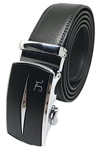 J Mrad - Men's Leather Ratchet Dress Belt with Silver Automatic Sliding Buckle - Black Strap Style 348 - Up Pant Size 38