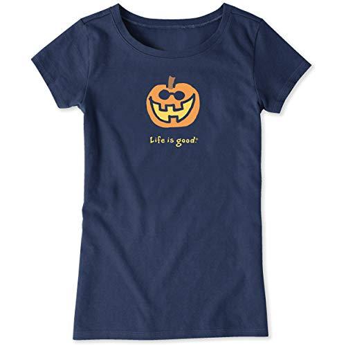 Life Is Good Halloween Shirt (Life is Good. Girls Crusher Tee: Jake O'Lantern, Darkest)