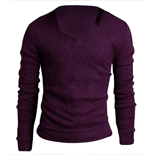 TOOGOO (R) Maenner Schlanker V-Ausschnitt Strickjacke Pullover Lila - L