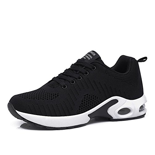 FLARUT Running Shoes Womens Lightweight Fashion Soprt Sneakers Casual Walking Athletic Non Slip(Black, EU42)