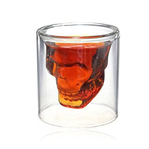 Crystal Skeletal Skull Wine Glass Cup ShineMe Pirate Shot Drink Cocktail Gothic Goblet Bones Skull Coffee Beer Mug Whiskey Cup Evil for Home/Club/Pub Party Celebration Decor 3oz (1 (Coupon Spirit Halloween)