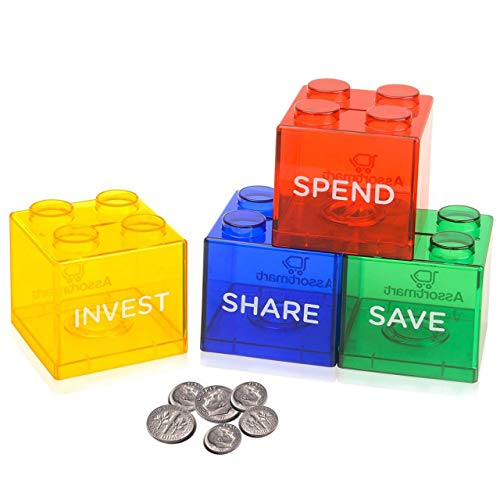 Colorful Stacking Block Coin Bank For Kids - Helps Kids Save, Share, Give and Invest - Transparent Plastic Bank Shows Cash Inside - Teaches Good Money Habits - Perfect As Kids Birthday Presents (Bank Educational Piggy)