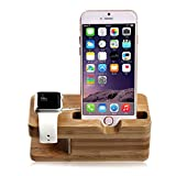 Lenfech® Soporte/Base/Stand de Buró o Escritorio para Apple Watch de 38mm o de 42mm y Cualquier iPhone. Hecho de Madera. Apple iWatch Stand.