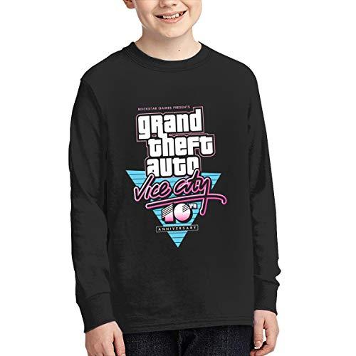 Youth Shirts Kid Long Sleeve T-Shirt GTA V Grand Theft Auto Vice City Round Neck Sport Cotton Unisex Tee Black S
