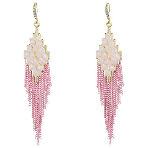 Long Link Earrings - Handmade Resin Beaded Tassel longs Earrings Pink Thread Chain Link Chandelier Dangle Earrings for Women