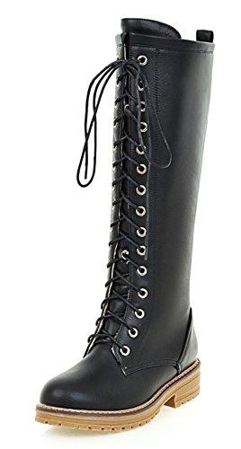 Femme Original Bottes Aisun De Neige Ranger Mollet Chaussures Noir OwCvwq8