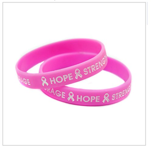 2-Pack Breast Cancer Awareness Pink Silicone Bracelets 'Hope Strength Courage' -