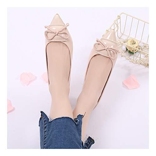 Superficial 34 Albaricoque Soft Apartamento Cmodas Pura Color Sharp Negro Moda Bow Casual Zapatos Ballet De Wulifang 8Zxp7qv