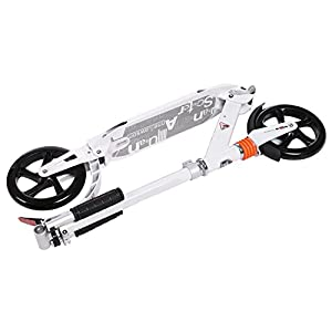 AMDirect Trottinette Scooter Adulte avec Double Suspension et Bandoulière Réglable Grande Roue Scooter de Ville Pliable et Taille Réglable pour Enfants de 8 Ans à 100kg