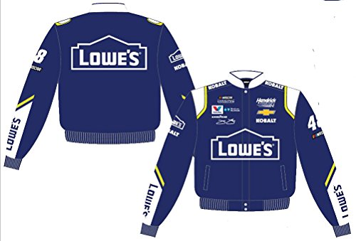 (2017 Jimmie Johnson Lowe's Mens Royal Twill Nascar Jacket by JH Design (L) )