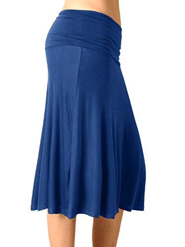 DJT Femme Bleu Jupe Pliss Pur Midi Casual Elastique xqUnRrwHBq