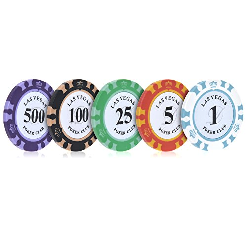 Poppaye 100 Count Heavy Clay Poker Chips Set, Included Denominations of $1 $5 $25 $100 $500 with Storage Case, Premium Casino Chips Pack of 100 by Poppaye