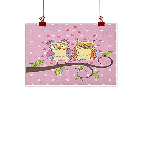 Artwork Office Home Decoration Owls,Owls Love Valentines on Branch Polkadots Leaves Hearts Romance, Pale Pink Apple Green Pale Yellow 36