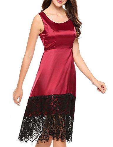 ACEVOG Women's Zigzag Tunic Sheath Cocktail Prom Party Gowns Midi Lace Dress(Wine Red XXL)